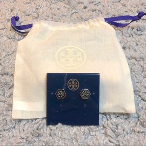 Tory Burch Silver Logo Earrings.